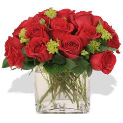 Kocaeli çiçekçiler  10 adet kirmizi gül ve cam yada mika vazo