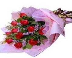 11 adet kirmizi güllerden görsel buket  Kocaeli çiçekçi mağazası
