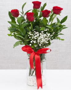 cam vazo içerisinde 5 adet kırmızı gül  kaliteli taze ve ucuz çiçekler