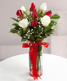 5 kırmızı 4 beyaz gül vazoda  kaliteli taze ve ucuz çiçekler