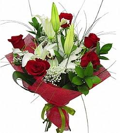 1 dal kazablanka 5 kırmızı gül buketi  çiçek gönderme
