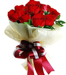9 adet kırmızı gülden buket tanzimi  Kocaeli çiçekçi mağazası