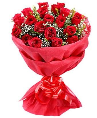 21 adet kırmızı gülden modern buket  Kocaeli internetten çiçek satışı