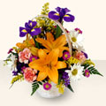 yurtiçi ve yurtdışı çiçek siparişi  sepet içinde karisik çiçekler