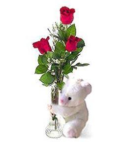 oyuncak ve 3 adet gül  Kocaeli uluslararası çiçek gönderme