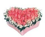 kalp içerisinde 9 adet pembe gül  Kocaeli internetten çiçek siparişi