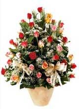 91 adet renkli gül aranjman   Kocaeli çiçekçi mağazası