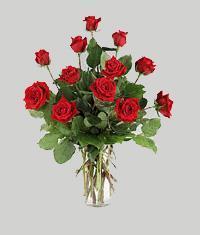 kaliteli taze ve ucuz çiçekler  11 adet kirmizi gül vazo halinde