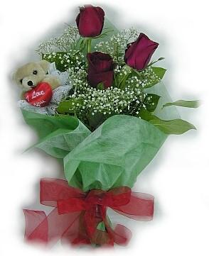 3 adet gül ve küçük ayicik buketi  Kocaeli çiçek mağazası , çiçekçi adresleri