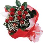 14 şubat sevgililer günü çiçek  KIRMIZI AMBALAJ BUKETINDE 12 ADET GÜL
