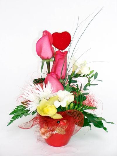 Kocaeli online çiçek gönderme sipariş  cam içerisinde 3 adet gül ve kir çiçekleri