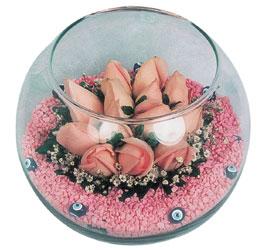 14 şubat sevgililer günü çiçek  cam fanus içerisinde 10 adet gül