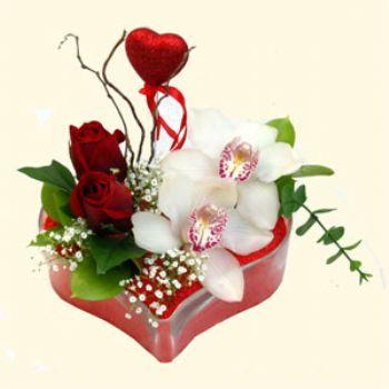Kocaeli çiçek yolla , çiçek gönder , çiçekçi   1 kandil orkide 5 adet kirmizi gül mika kalp