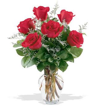 kaliteli taze ve ucuz çiçekler  cam yada mika vazoda 6 adet kirmizi gül