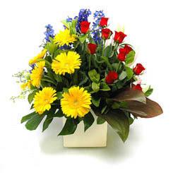 Kocaeli çiçek servisi , çiçekçi adresleri  9 adet gül ve kir çiçekleri cam yada mika vazoda