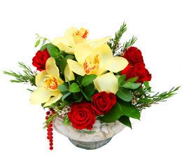 Kocaeli internetten çiçek satışı  1 adet orkide 5 adet gül cam yada mikada