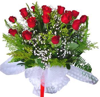11 adet gösterisli kirmizi gül buketi  14 şubat sevgililer günü çiçek