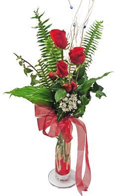 Çiçek gönderin cam vazoda 3 gül çiçekleri  Kocaeli uluslararası çiçek gönderme