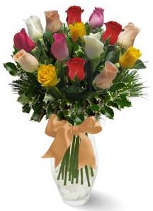 15 adet vazoda renkli gül  14 şubat sevgililer günü çiçek