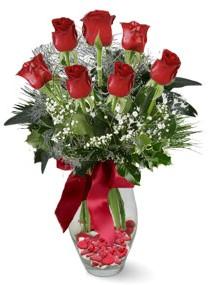 7 adet vazoda gül  14 şubat sevgililer günü çiçek  kirmizi gül