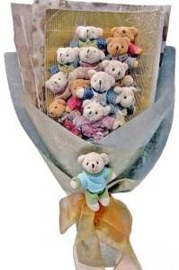 12 adet ayiciktan buket tanzimi  Kocaeli çiçek mağazası , çiçekçi adresleri