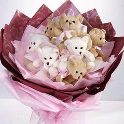 9 adet ayiciktan buket  Kocaeli hediye sevgilime hediye çiçek