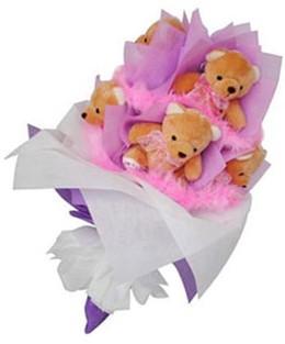 9 adet ayiciktan buket  Kocaeli çiçek yolla , çiçek gönder , çiçekçi