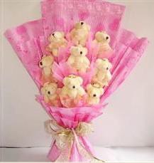 9 adet pelus ayicik buketi  Kocaeli online çiçekçi , çiçek siparişi