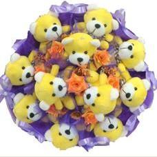 11 adet pelus ayicik buketi  çiçek yolla
