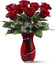 Vazo içinde 8 adet kirmizilar içinde güller  Kocaeli hediye sevgilime hediye çiçek