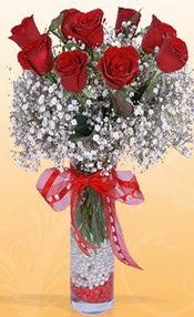 9 adet kirmizi gül cam yada mika vazoda  çiçek yolla