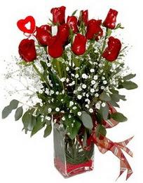 çiçek online çiçek siparişi  9 adet mika yada cam vazoda gül tanzimi kalp çubuk