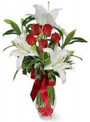 çiçek online çiçek siparişi  5 adet kirmizi gül ve 3 kandil kazablanka