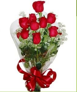 Kocaeli güvenli kaliteli hızlı çiçek  10 adet kırmızı gülden görsel buket