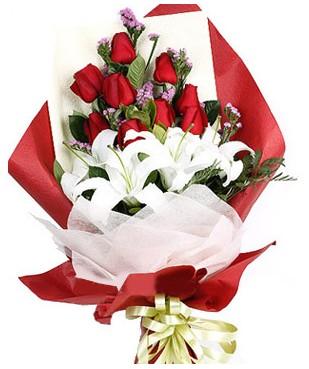Kocaeli anneler günü çiçek yolla  1 dal kazablankaa 9 adet kırmızı gül buketi