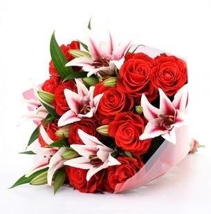 çiçek online çiçek siparişi  3 dal kazablanka ve 11 adet kırmızı gül