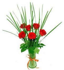 Kocaeli çiçek siparişi vermek  6 adet kırmızı güllerden vazo çiçeği