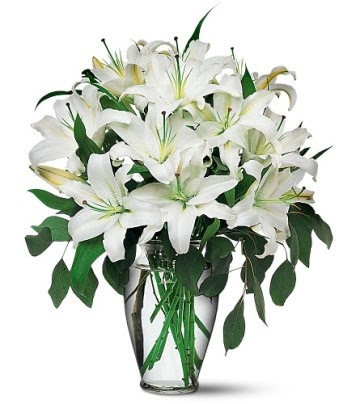 14 şubat sevgililer günü çiçek  4 dal kazablanka ile görsel vazo tanzimi