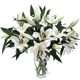 Kocaeli çiçekçiler  3 dal görsel casablanca vazo tanzimi