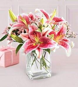 2 dal kazablanka görsel vazosu  Kocaeli uluslararası çiçek gönderme