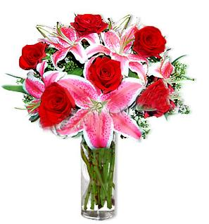 çiçek siparişi sitesi  1 dal cazablanca ve 6 kırmızı gül çiçeği