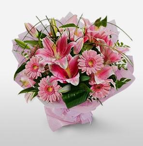 1 dal kazablanka ve kır çiçek görsel buketi  14 şubat sevgililer günü çiçek