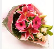 1 dal kazablanka ve mevsim çiçekleri  Kocaeli hediye sevgilime hediye çiçek