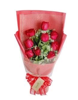 9 adet kırmızı gülden görsel buket  Kocaeli online çiçek gönderme sipariş