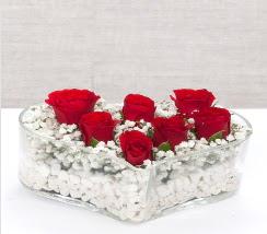 kalp içerisinde 7 adet kırmızı gül  çiçek online çiçek siparişi