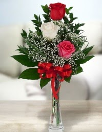 Camda 2 kırmızı 1 beyaz gül  Kocaeli online çiçek gönderme sipariş