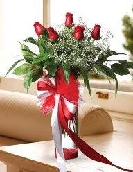 Camda 5 kırmızı gül tanzimi  Kocaeli çiçekçiler