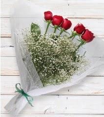 5 kırmızı gülden sade buket  çiçek siparişi sitesi