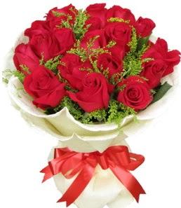19 adet kırmızı gülden buket tanzimi  Kocaeli çiçek gönderme sitemiz güvenlidir