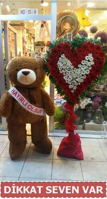 1.5 Metre peluş ayı ve Kalp  Kocaeli çiçekçi mağazası